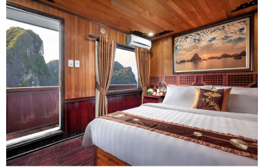 DU THUYỀN HẠ LONG COZY BAY 3 SAO - Phòng Deluxe Double Cabin With Sea View 2 Ngày 1 Đêm