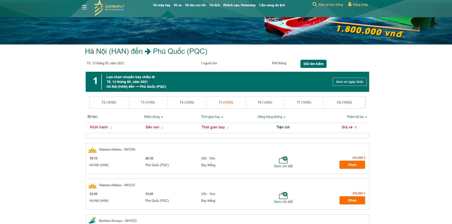 Giá vé máy bay Hà Nội - Phú Quốc tham khảo