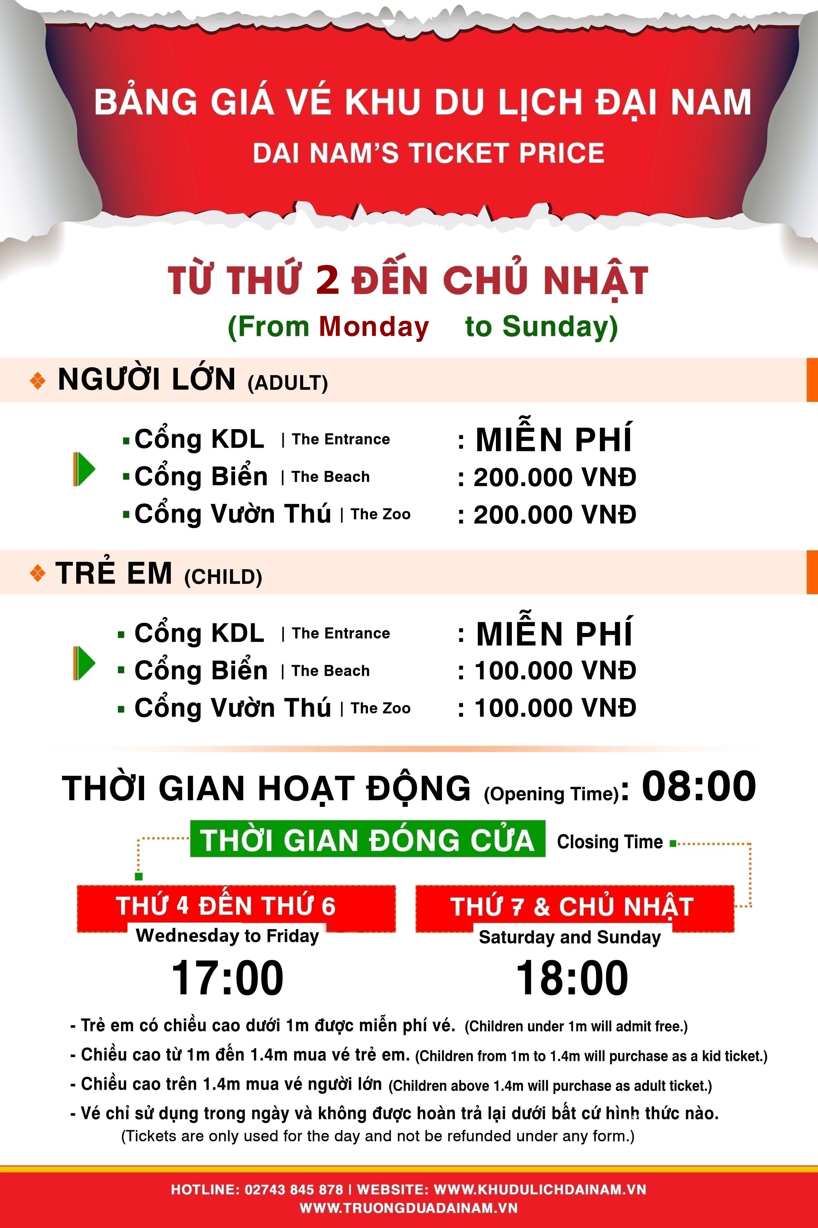 Giá vé khu du lịch Đại Nam 2021